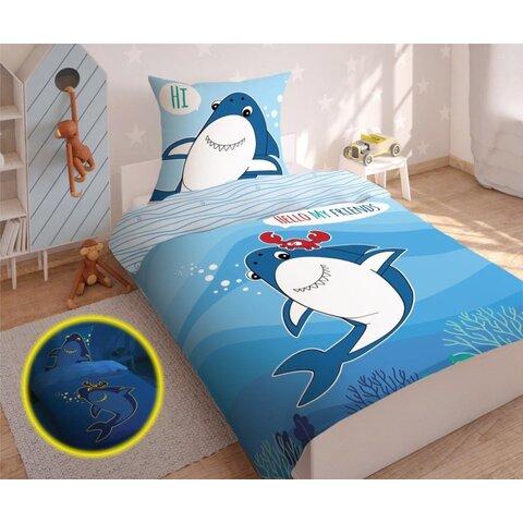 Dětské bavlněné povlečení 140x200 Hello my friends - svítící žralok