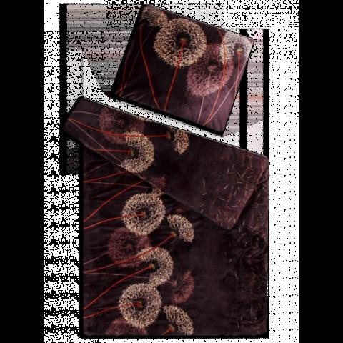 Povlečení mikroflanel 140x200 Pampeliška tmavě hnědá