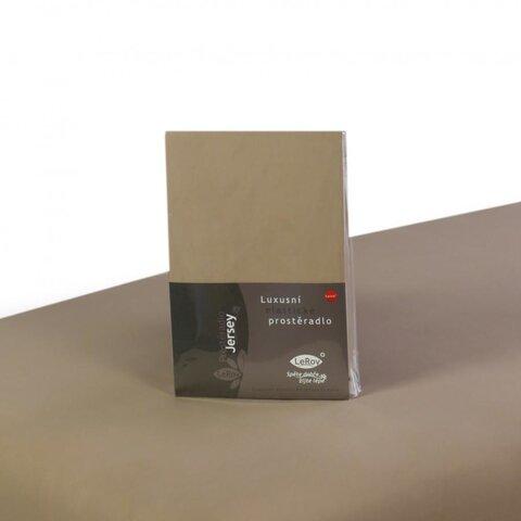 Prostěradlo Jersey 100x220 tmavá béžová s elastanem napínací LeRoy