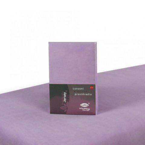 Prostěradlo Jersey 140x200 fialková s elastanem napínací LeRoy