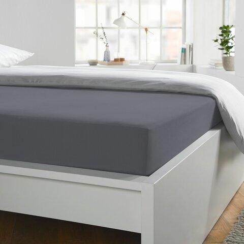Prostěradlo Jersey 90x190-100x220x40 grafit elastan BoxSpring Schlafgut