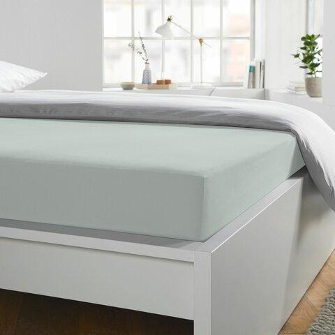 Prostěradlo Jersey 90x190-100x220x40 platin elastan BoxSpring Schlafgut